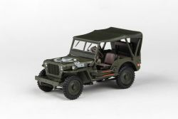 Abrex Cararama 1:43 - 1/4 Ton Military Vehicle Soft Top - Military Green