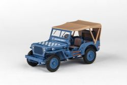Abrex Cararama 1:43 - 1/4 Ton Military Vehicle Soft Top - Blue With Sandy Soft Top
