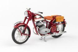 Jawa 350 Pérák (1950) 1:18 - Tmavě Červená - S Brašnami