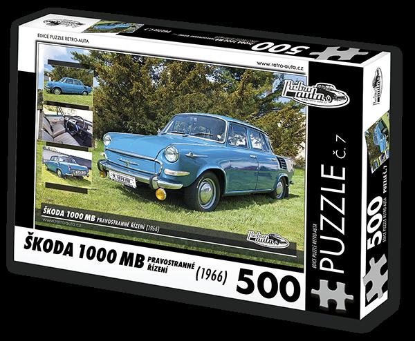 Puzzle č. 07 - Škoda 1000 MB (1966) pravostranné řízení - 500 dílků