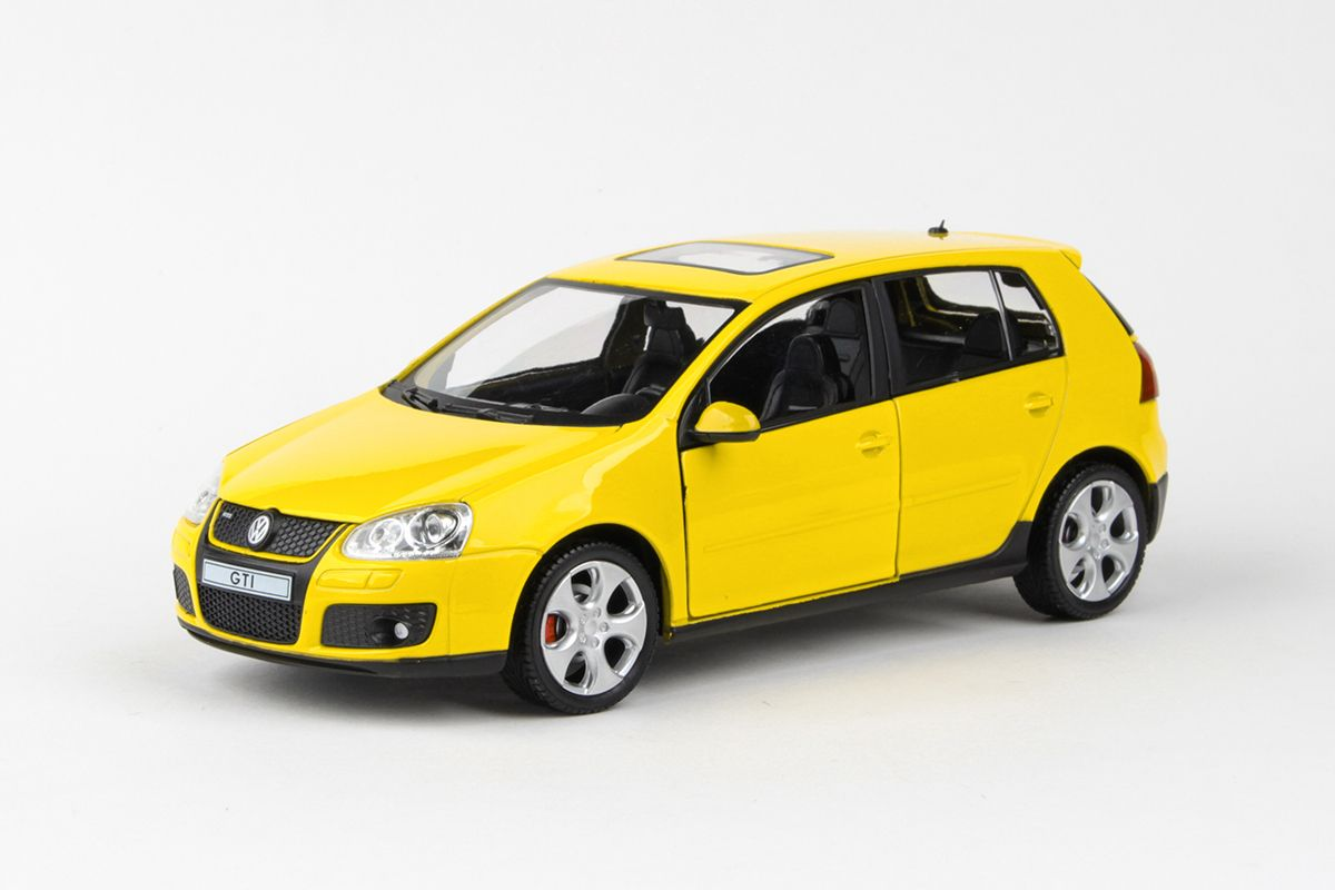 Kovový model Volkswagen Golf GTI - žlutá