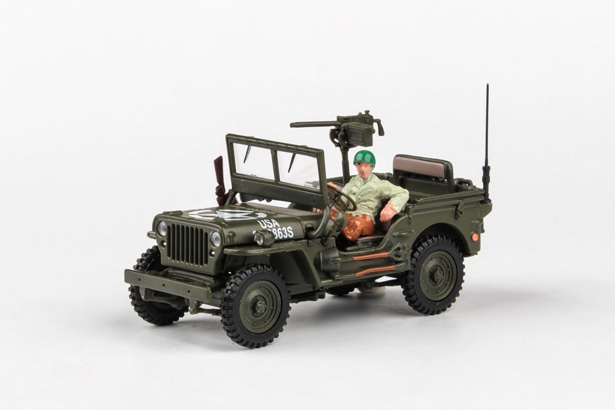 Abrex Cararama 1:43 - 1/4 Ton Military Vehicle With Gun - US Version 2