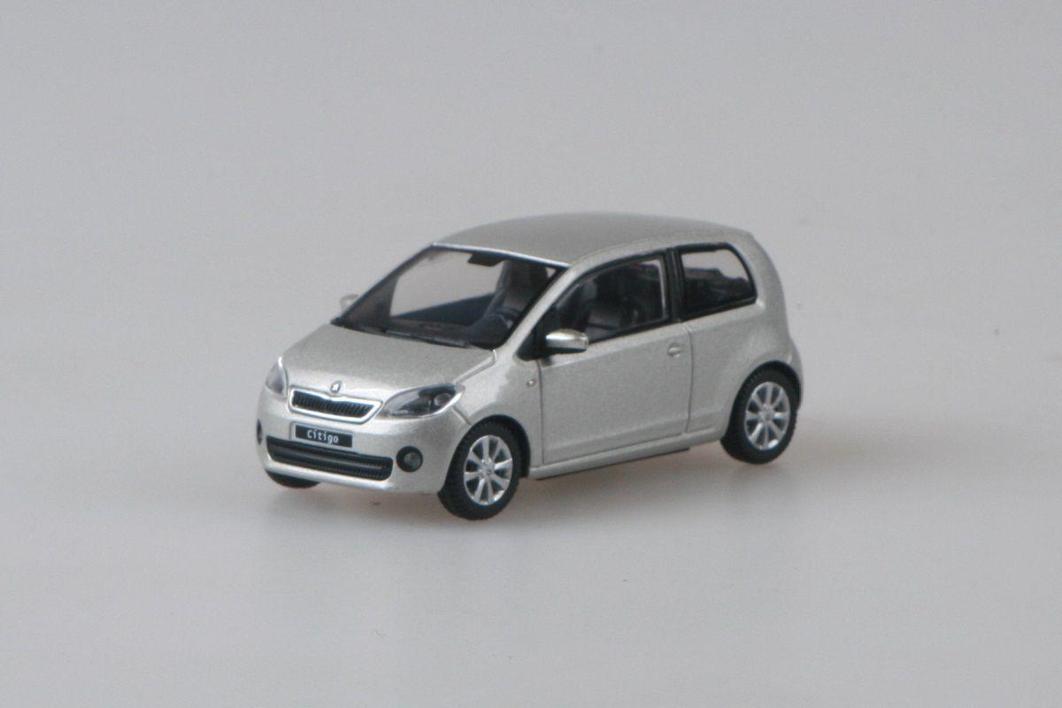 Kovový model Škoda Citigo - stříbrná leaf metalíza