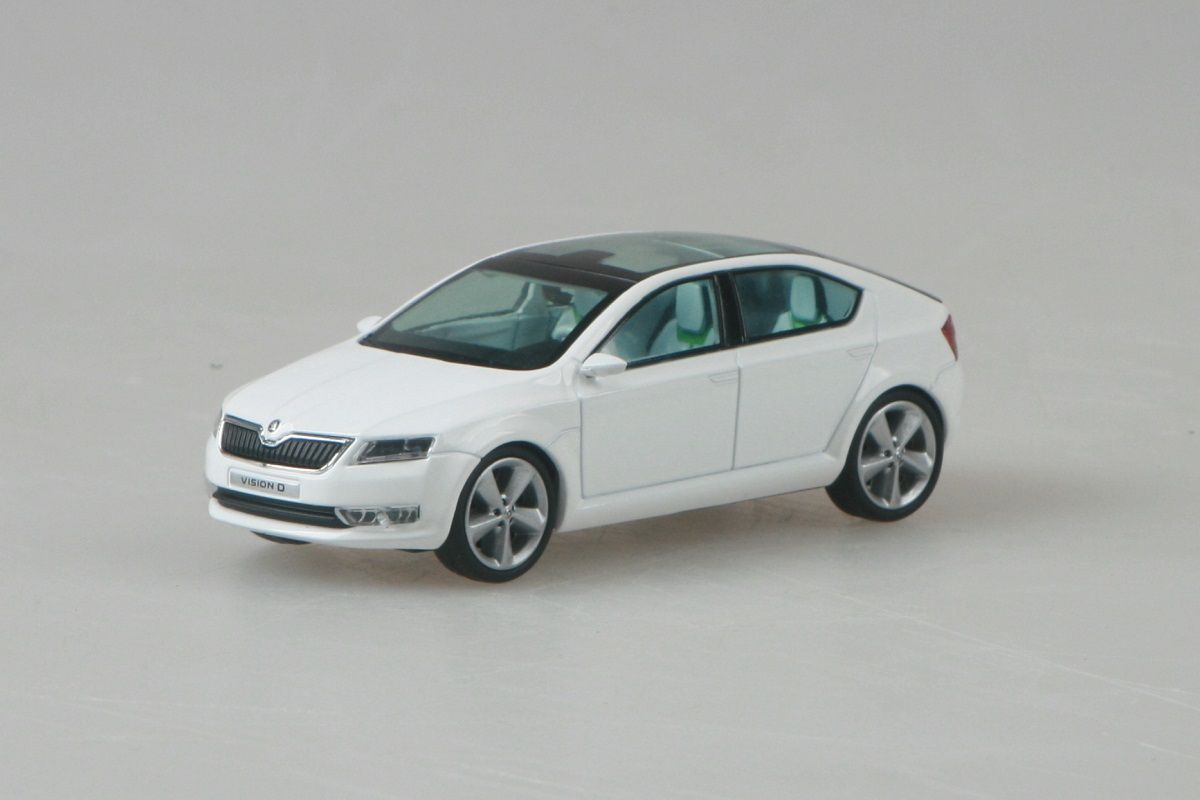 Kovový model Škoda Vision D concept - bílá candi uni