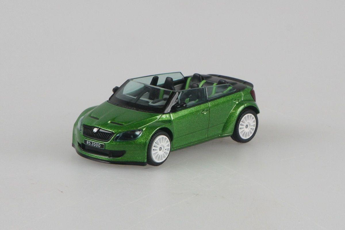 Kovový model Škoda Fabia II FL RS2000 Concept - zelená rallye metalíza
